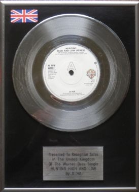 A-HA - 7 inch Platinum Disc - HUNTING HIGH AND LOW